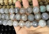 CAA3232 15 inches 16mm faceted round fire crackle agate beads wholesale