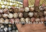 CAA3234 15 inches 16mm faceted round fire crackle agate beads wholesale