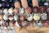 CAA3235 15 inches 16mm faceted round fire crackle agate beads wholesale