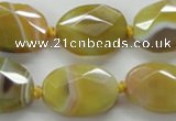 CAA324 15.5 inches 18*25mm faceted oval yellow line agate beads