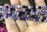 CAA3250 15 inches 4mm faceted round line agate beads wholesale