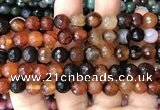 CAA3352 15 inches 8mm faceted round agate beads wholesale