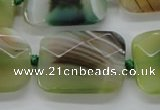 CAA336 15.5 inches 22*30mm faceted rectangle green line agate beads
