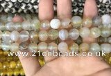 CAA3364 15 inches 10mm faceted round agate beads wholesale