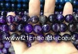 CAA3402 15 inches 12mm faceted round agate beads wholesale