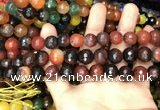 CAA3410 15 inches 12mm faceted round agate beads wholesale