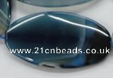 CAA347 15.5 inches 30*60mm oval blue line agate gemstone beads