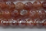 CAA3508 15.5 inches 4mm faceted round AB-color fire agate beads