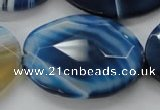 CAA351 15.5 inches 30*40mm faceted oval blue line agate beads