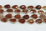 CAA3528 7.5 inches 13*18mm faceted flat teardrop fire agate beads