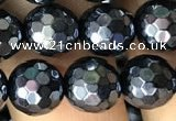 CAA3556 15.5 inches 8mm faceted round AB-color black agate beads