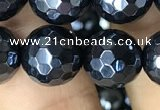 CAA3558 15.5 inches 12mm faceted round AB-color black agate beads