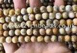 CAA3603 15.5 inches 8mm round yellow crazy lace agate beads