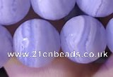 CAA3608 15.5 inches 10mm faceted round blue lace agate beads