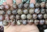 CAA3640 15.5 inches 12mm round flower agate beads wholesale