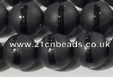 CAA3651 15.5 inches 8mm round matte & carved black agate beads