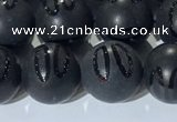 CAA3662 15.5 inches 10mm round matte & carved black agate beads