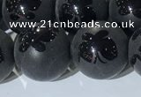 CAA3668 15.5 inches 12mm round matte & carved black agate beads