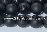 CAA3670 15.5 inches 6mm round matte & carved black agate beads