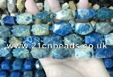 CAA3713 15*22mm - 16*25mm faceted nuggets chrysanthemum agate beads