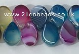 CAA3758 Top drilled 5*8mm flat teardrop line agate beads