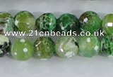 CAA378 15.5 inches 14mm faceted round fire crackle agate beads