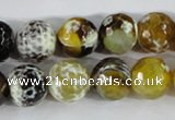 CAA381 15.5 inches 12mm faceted round fire crackle agate beads
