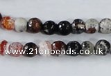 CAA383 15.5 inches 6mm faceted round fire crackle agate beads