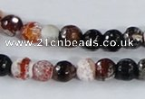 CAA384 15.5 inches 8mm faceted round fire crackle agate beads