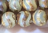 CAA3859 15 inches 8mm round tibetan agate beads wholesale