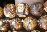 CAA3862 15 inches 8mm round tibetan agate beads wholesale