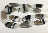 CAA3996 15.5 inches 25*55mm oval line agate gemstone beads