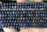 CAA4008 15.5 inches 4mm round blue crazy lace agate beads