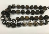 CAA4057 15*16mm - 16*17mm faceted nuggets chrysanthemum agate beads
