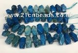 CAA4058 13*26mm - 15*30mm faceted nuggets chrysanthemum agate beads