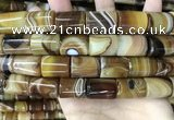 CAA4183 15.5 inches 15*20mm tube line agate beads wholesale