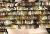 CAA4196 15.5 inches 9*14mm carved drum line agate gemstone beads