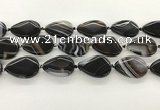 CAA4318 15.5 inches 25*35mm twisted flat teardrop line agate beads