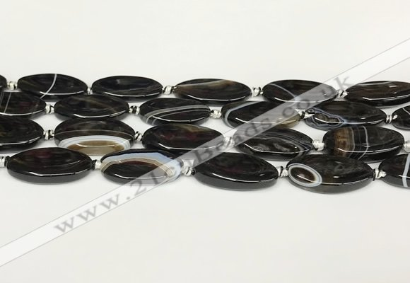 CAA4399 15.5 inches 16*30mm rectangle black banded agate beads