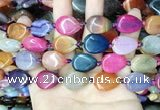CAA4475 15.5 inches 15*20mm flat teardrop dragon veins agate beads