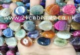 CAA4476 15.5 inches 15*20mm flat teardrop dragon veins agate beads
