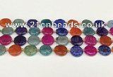 CAA4490 15.5 inches 16mm flat round dragon veins agate beads