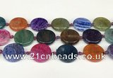 CAA4528 15.5 inches 25mm flat round dragon veins agate beads