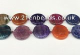CAA4529 15.5 inches 30mm flat round dragon veins agate beads