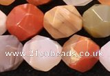 CAA4577 15.5 inches 10mm faceted nuggets mixed botswana agate beads