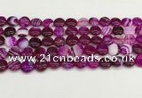 CAA4582 15.5 inches 10mm flat round banded agate beads wholesale