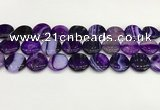 CAA4613 15.5 inches 18mm flat round banded agate beads wholesale