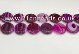 CAA4630 15.5 inches 25mm flat round banded agate beads wholesale