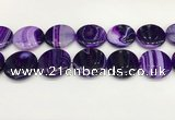 CAA4637 15.5 inches 30mm flat round banded agate beads wholesale
