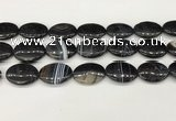 CAA4683 15.5 inches 18*25mm oval banded agate beads wholesale